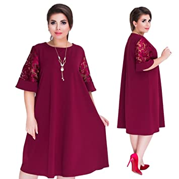 6433273c7c821 Yumian 2018 Big Size Splice Loose Mesh See Lace Summer Dresses Plus Size  Women Knee-