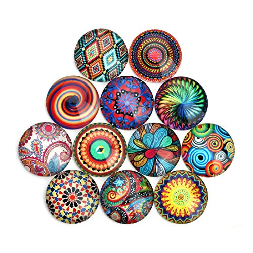 Multi Color Glass Buttons - Alasida 20PCS Nation Style Glass Cabochons Snap Button Jewelry Charms DIY Ginger Bracelets Accessories (12mm,Mixed Random)