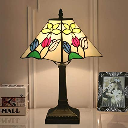 Amazon.com: Tiffany Style Table Lamp, Color Church Glass Desk Lamp ...