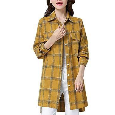 Abrigos Mujer, Hanomes Mujeres Talla Grande Casual Boho Blusa a Cuadros Camisa de Bolsillo de Manga Larga Suelta Tops: Amazon.es: Ropa y accesorios