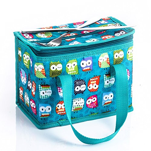 TEAMOOK Lunch Bag Insulated Lunch Box for kids and adults 1pcs Green Owl (Insulated Kids Lunch)