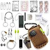 X-Plore Gear Emergency Paracord Survival Kit (30 Tools) by Natural Disaster/Earthquake Preparedness Response 30 ft Cord, Blade, Whistle, Compass for Outdoor Adventures, Backpacking, Boat, Car (Brown)