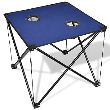 Mesa de camping portátil plegable, cuadrada Fiesta Mesa para barbacoa de jardín exterior Azul azul
