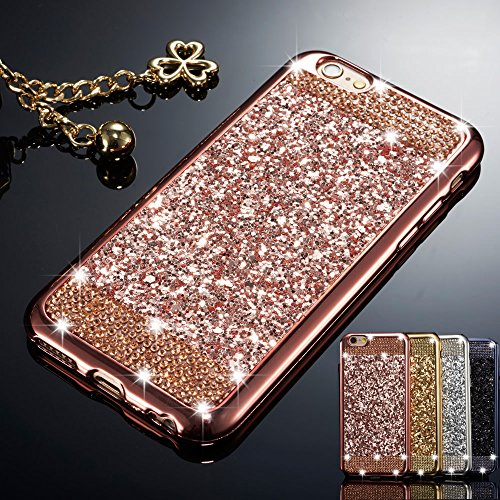 (ZCDAYE Case for iPhone 6 Plus iPhone 6S Plus,Bling Glitter [Crystal Rhinestone Diamond] Soft TPU Rubber Silicone [Electroplating Edge] Protective Back Case for iPhone 6 Plus/6S Plus 5.5