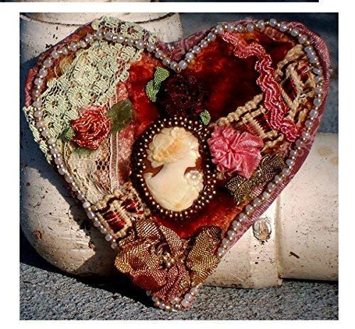 Crazy Quilt Heart Cameo Antique Carved Shell Cameo Pendant Brooch,on Antique Dyed Velvet,Vintage Lace Ribbon Embroidery Flowers,Pearls, Gold, Bronze Seed Beads (Bronze Velvet Pendant)