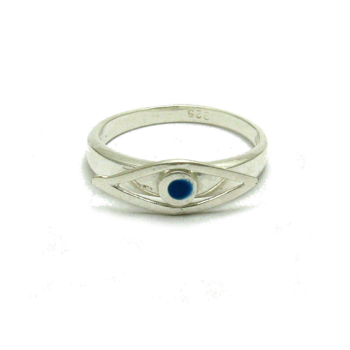 Bague en argent massif 925 oeil bleu avec é mail R001665 Empress
