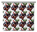 AG DESIGN Marvel Avengers Curtains with White Pattern, Multi-Colour, 180 x 160/90 x 160 cm