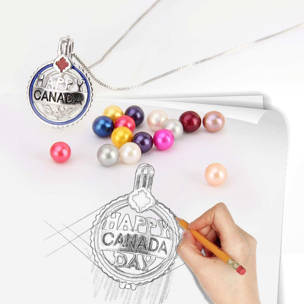 Design Pearl Cage Pendant for Women and Girls AIM Jewelry 925 Sterling Happy Canada Day Necklace for Pearl