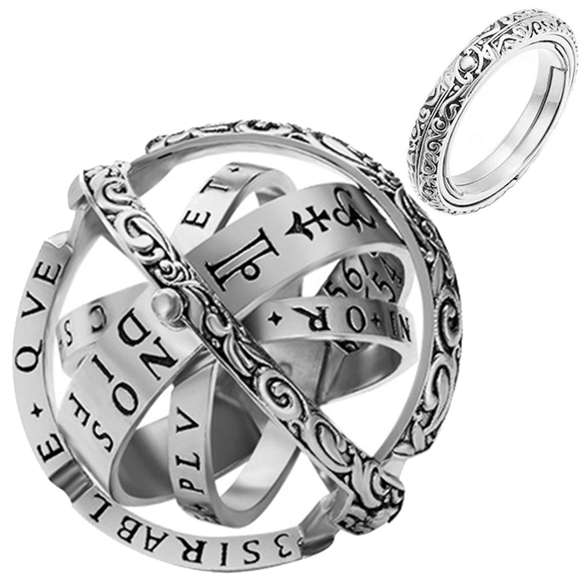 YandMe 2019 New Astronomical Sphere Ball Ring Vintage Foldable Open Cosmic Ring Best Gift for Lover by YandMe