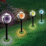 LLguz 2 PCs Solar Lawn Light Garden Pathway Colorful Lights Outdoor Solar Landscape Path Yard Decoration