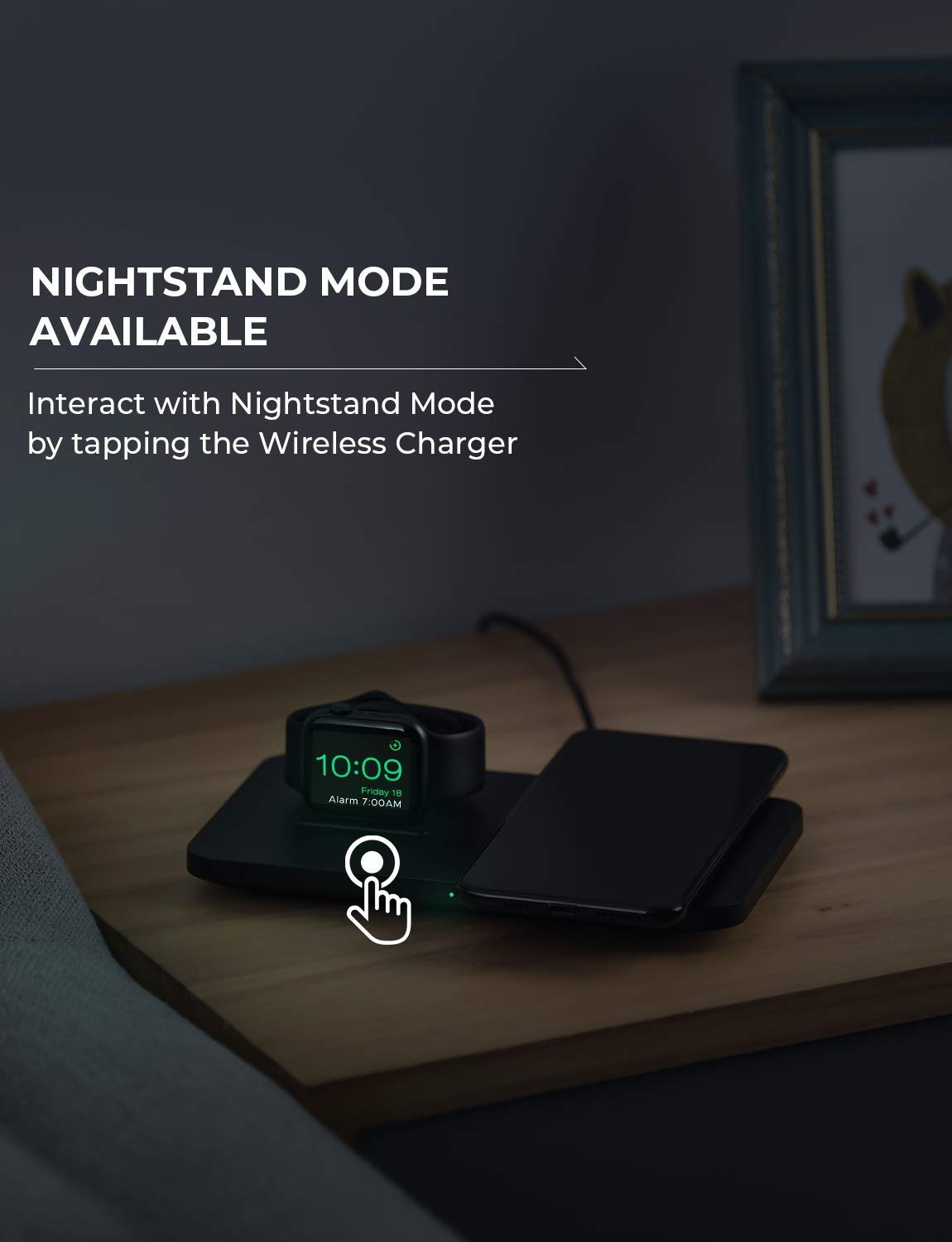 Seneo 2 in 1 Dual Wireless Charging Pad with iWatch Stand for iWatch 5//4//3//2 No iWatch Charging Cable, No QC 3.0 Wall Adapter 7.5W for iPhone 11//Pro Max//XR//XS Max//XS//X//8//8P Airpods Pro
