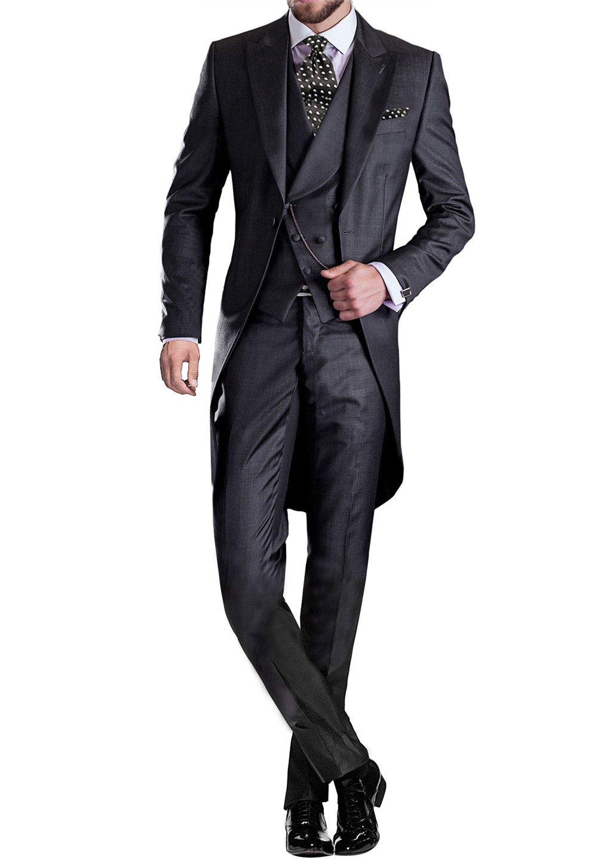 GEORGE BRIDE Premium Mens Tail Tuxedo 3pc Tailcoat Suit in Gray,Suit Jacket, Vest, Suit Pants,Black,L