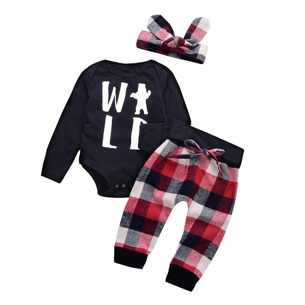 Jchen(TM) Hot Sales! for 0-24 Months 3Pcs Toddler Baby Boys Girls Letter Print Romper Jumpsuit Plaid Pants Headbands Outfits Set (Age: 18-24 Months)