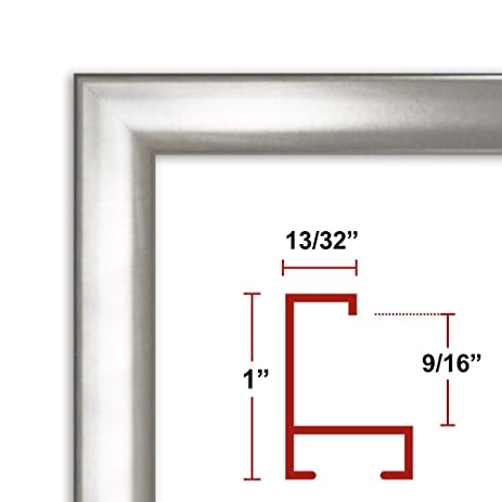 39 x 55 Shiny Silver Poster Frame - Profile: #93 Custom Size Picture Frame