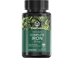 PlantFusion Complete Iron Vegan Vitamin 25 mg   Highly Absorbable and Easy On The Stomach, Plant Based, Gluten and Soy Free, Dietary Supplement, 3 Month Supply, 90 Vegan Capsules