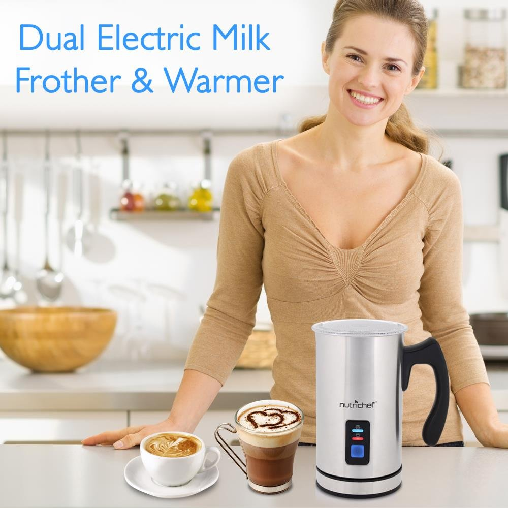 NutriChef Upgraded Dual Electric Milk Frother and Warmer - Sleek Compact Stainless Steel Steamer w/ Automatic Power Off Function and LED Light Indicator Perfect for Foamer and Creamy Latte - PKMFR14 by NutriChef (Image #7)