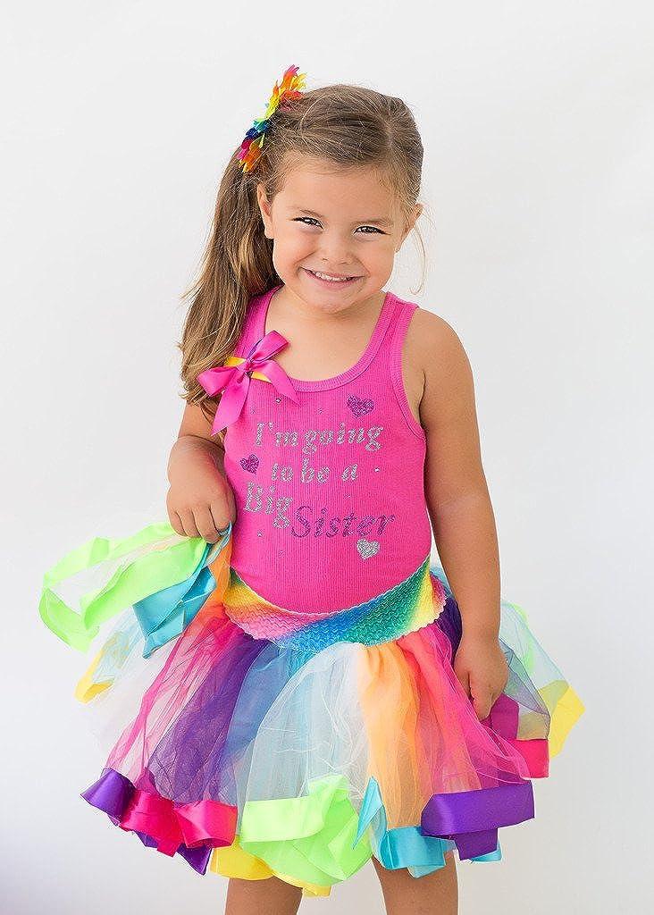 Bubblegum Divas Little Girls Im Going to Be a Big Sister Rainbow Tutu Outfit