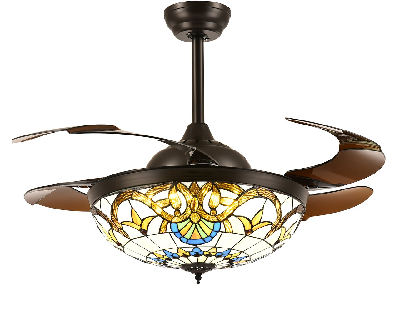 Siljoy Tiffany Style Ceiling Fans with Lights and Retractable Blades Dark Brown Invisible Fan Chandelier Dimmable Fandelier LED Lighting (Warm/Daylight/Cool White) 36 INCH
