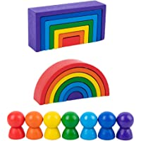 Toddmomy Wooden Rainbow Stacker Wooden Peg Dolls Stacking Game Nesting Puzzles Building Blocks Educational Toys Shape…