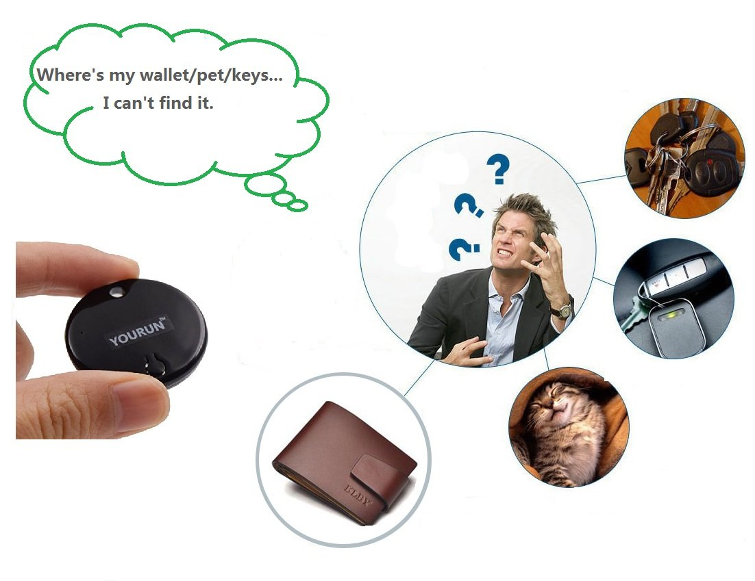 YOURUN Mini Smart Bluetooth Anti-Lost Alarm Device For Key//Cell//Kids//Pets//Car,Compatible With IOS And Android System,Black