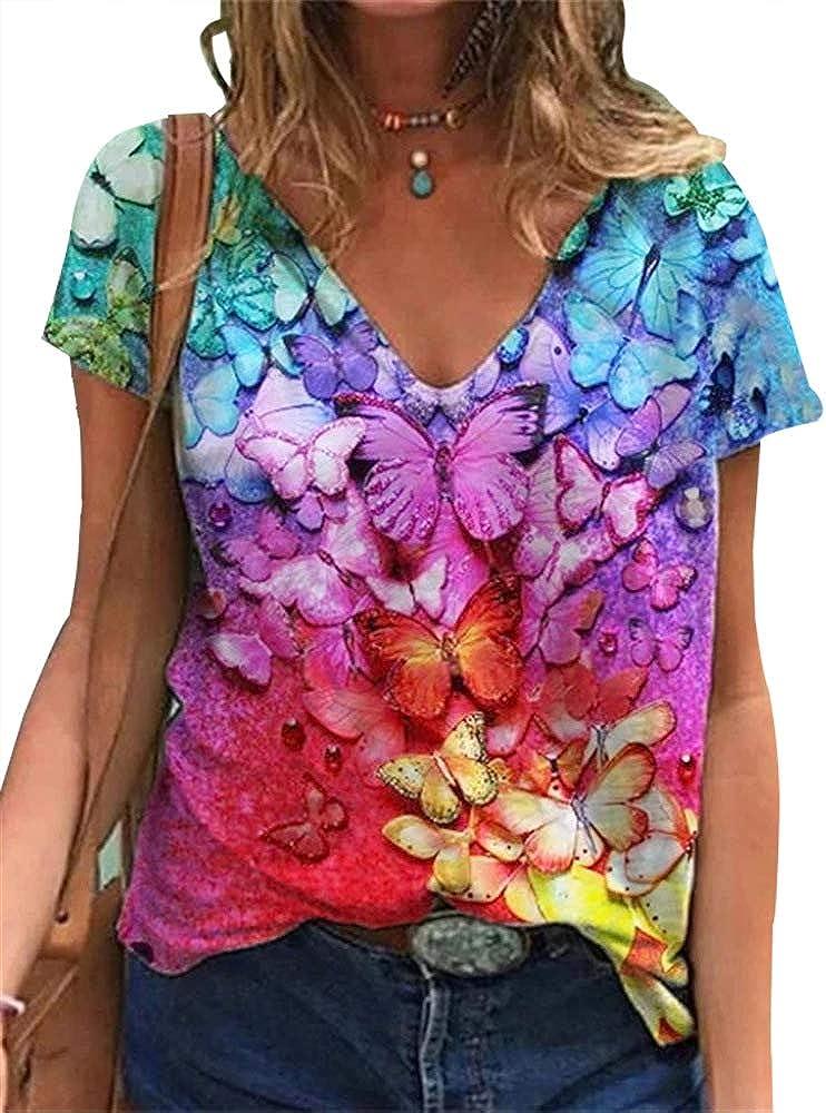 Woxlica Flower Printed T Shirts for Women Short Sleeve Summer Tops