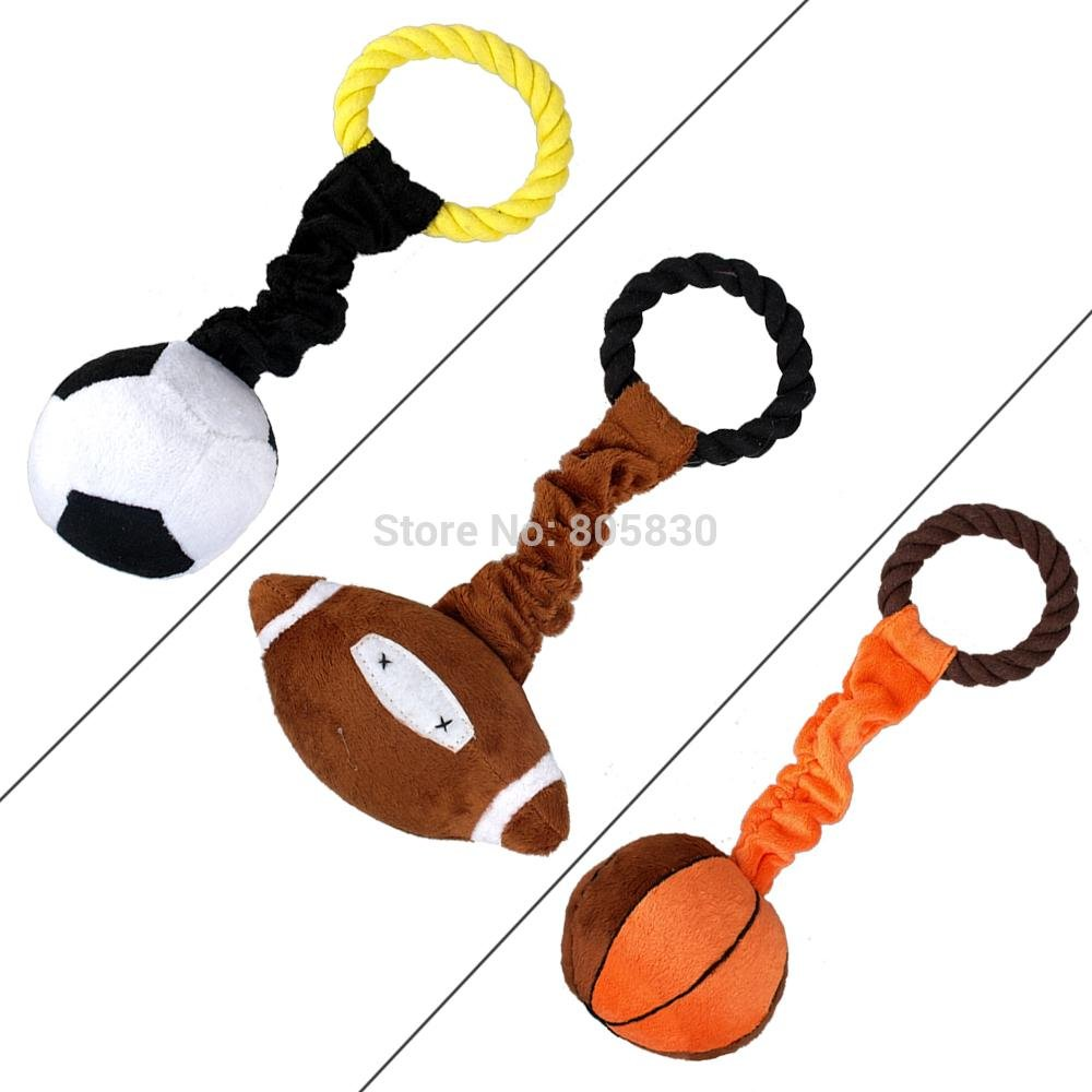 BOSUN(TM)Pet Plush Ball Design Toys With a Handle Easy To Carry Football Basketball And Rugby Shaped Soundded Dog Playing Tool