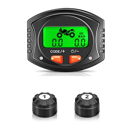 Tymate TPMS Tire Pressure Wireless System for Motorcycle, Tire Pressure Monitoring System with 2 DIY Sensors - Waterproof Digital LCD Display, Gauge Monitoring System for Motorcycle - 5 Alarm Modes: Automotive