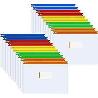 Sooez Zip Envelopes with Metal Zipper, 20 Pack Colored Edges Zipper Envelopes Bags Folders US Letter Size A4 Pouch with…