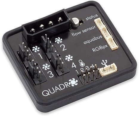 Aqua Computer Quadro - Control de Ventilador para Ventilador PWM con Conector para Ambiente/iluminación de Fondo: Amazon.es: Informática