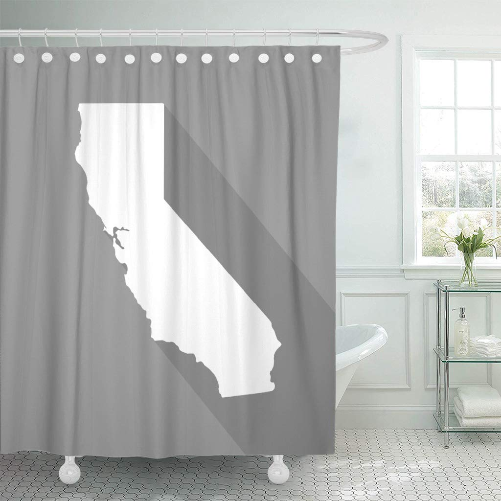 Emvency Fabric Shower Curtain Curtains with Hooks Gray Abstract California White Map Border Flat Simple Style with Long Shadow on Grey America American 72''X78'' Waterproof Decorative Bathroom by Emvency