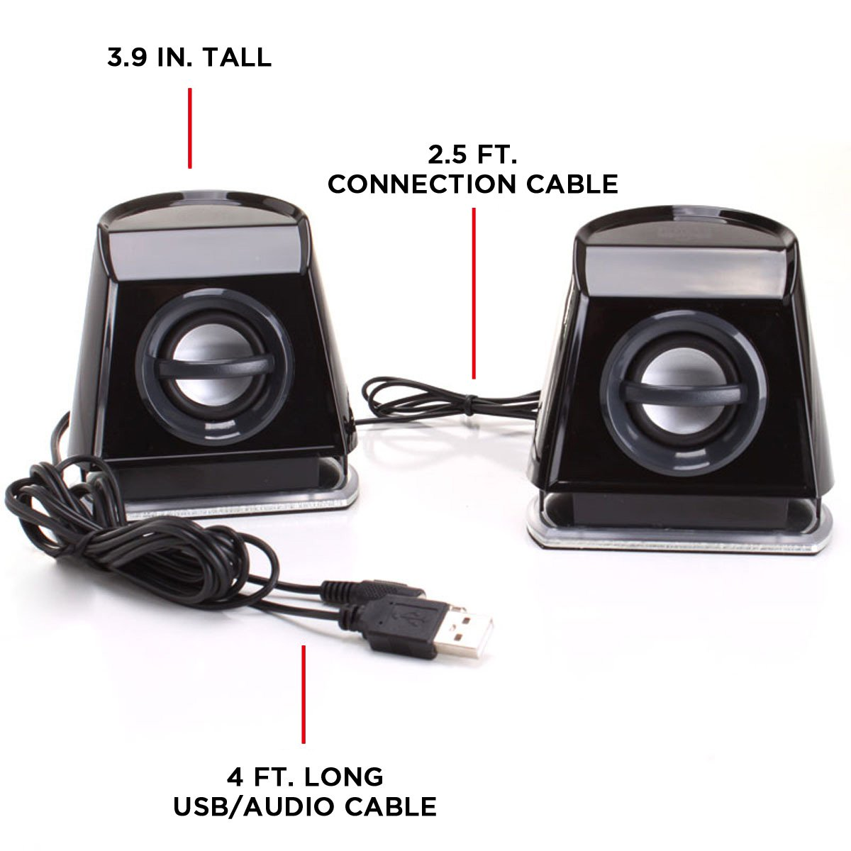 GOgroove 2MX LED Computer Speakers with Powered Subwoofer, Green Glowing Lights and Stereo Sound - Wired 3.5mm Audio Input Connection, USB Powered for PC, Desktop and Laptop Computers by GOgroove (Image #6)