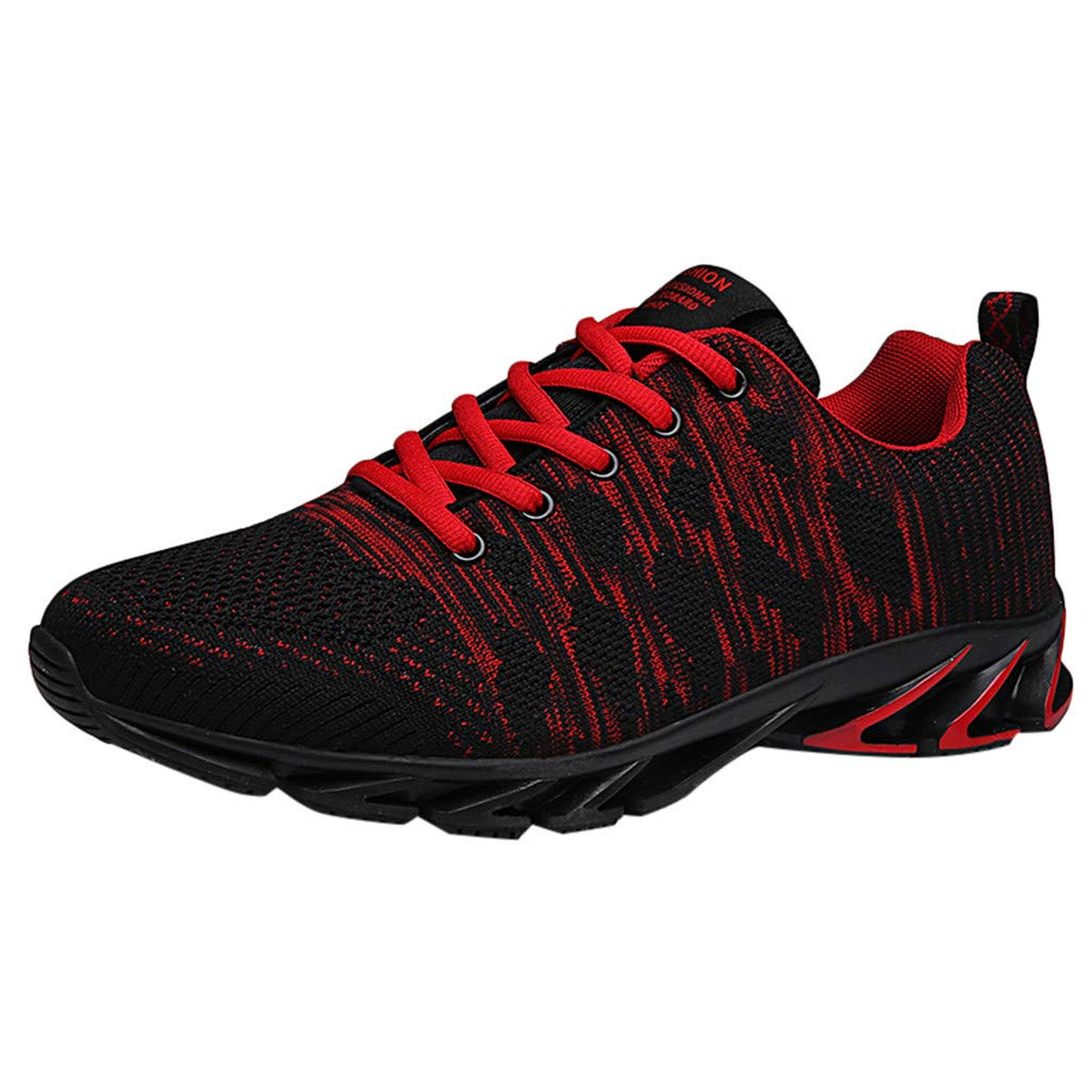 Men's Casual Running Shoes Athletic Ultra Lightweight Outdoors Sport Sneakers Summer Lace-Up Breathable Walking Jogging Shoe (Red, US:10) by Cealu