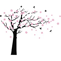 MAFENT Large Cherry Blossom Tree Blowing in The Wind Tree Wall Decals Wall Sticker Vinyl Wall Art Kids Rooms Teen Girls Boys Wallpaper Wall Stickers Room Decor