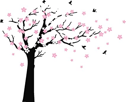 Mafent Large Cherry Blossom Tree Blowing In The Wind Tree Wall Decals Wall Sticker Vinyl Wall Art Kids Rooms Teen Girls Boys Wallpaper Wall Stickers