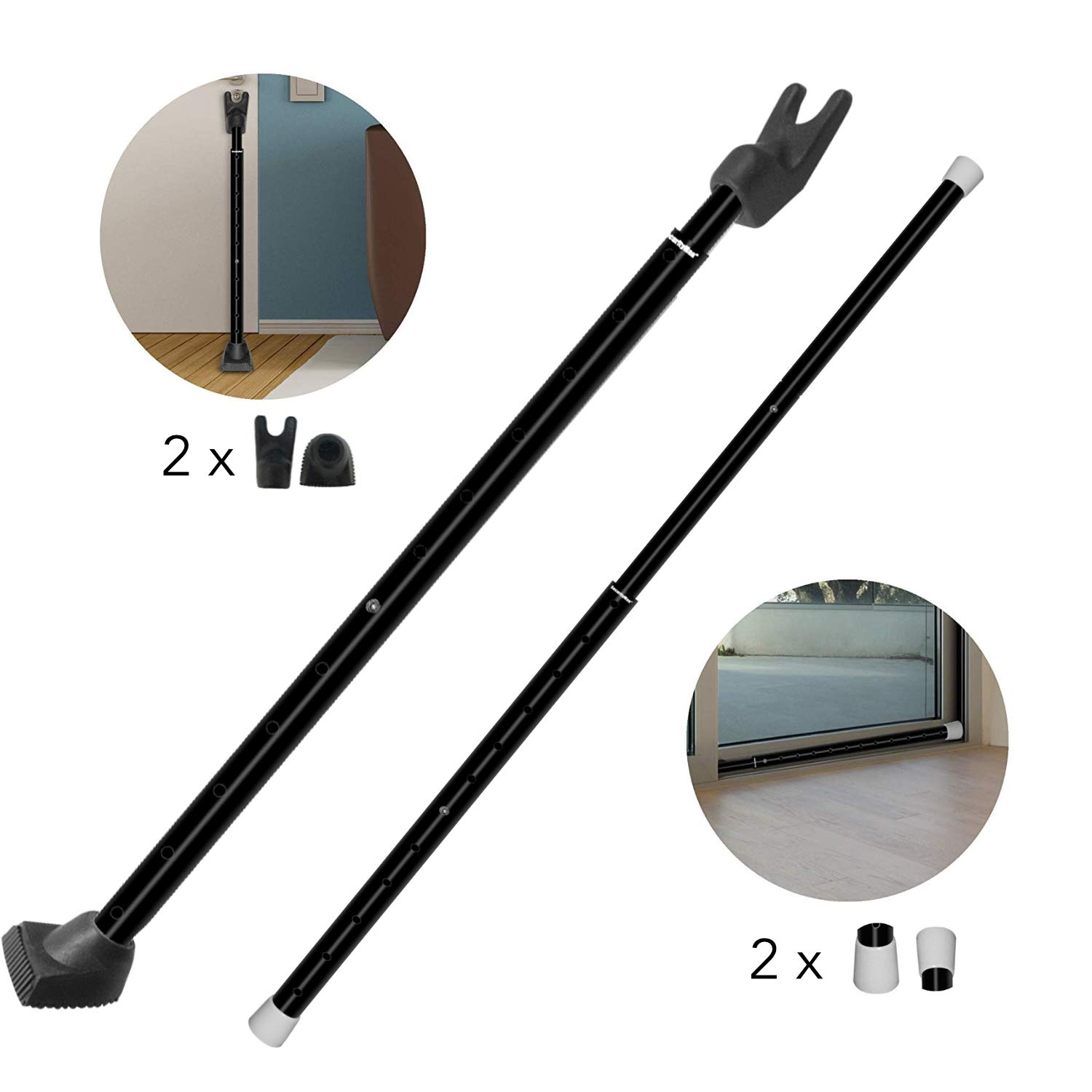 Securityman 2-in-1 Door Security Bar & Sliding Patio Door Security Bar - Constructed of High Grade Iron - Black - (2 Pack)