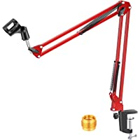 Neewer Adjustable Microphone Suspension Boom Scissor Arm Stand, Max Load 1 KG Compact Mic Stand for Radio Broadcasting…