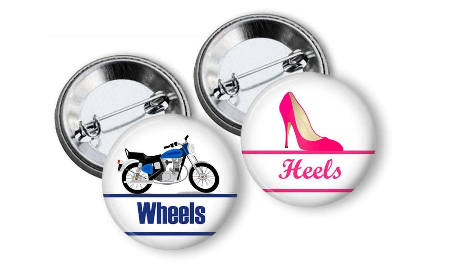 Wheels or Heels Gender Reveal buttons Party Favors pinback buttons set of 24