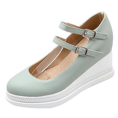 UH Damen Keilabsatz High Heels Mary Jane Pumps mit Schnalle 6cm Absatz Bequeme Geschlossene Schuhe