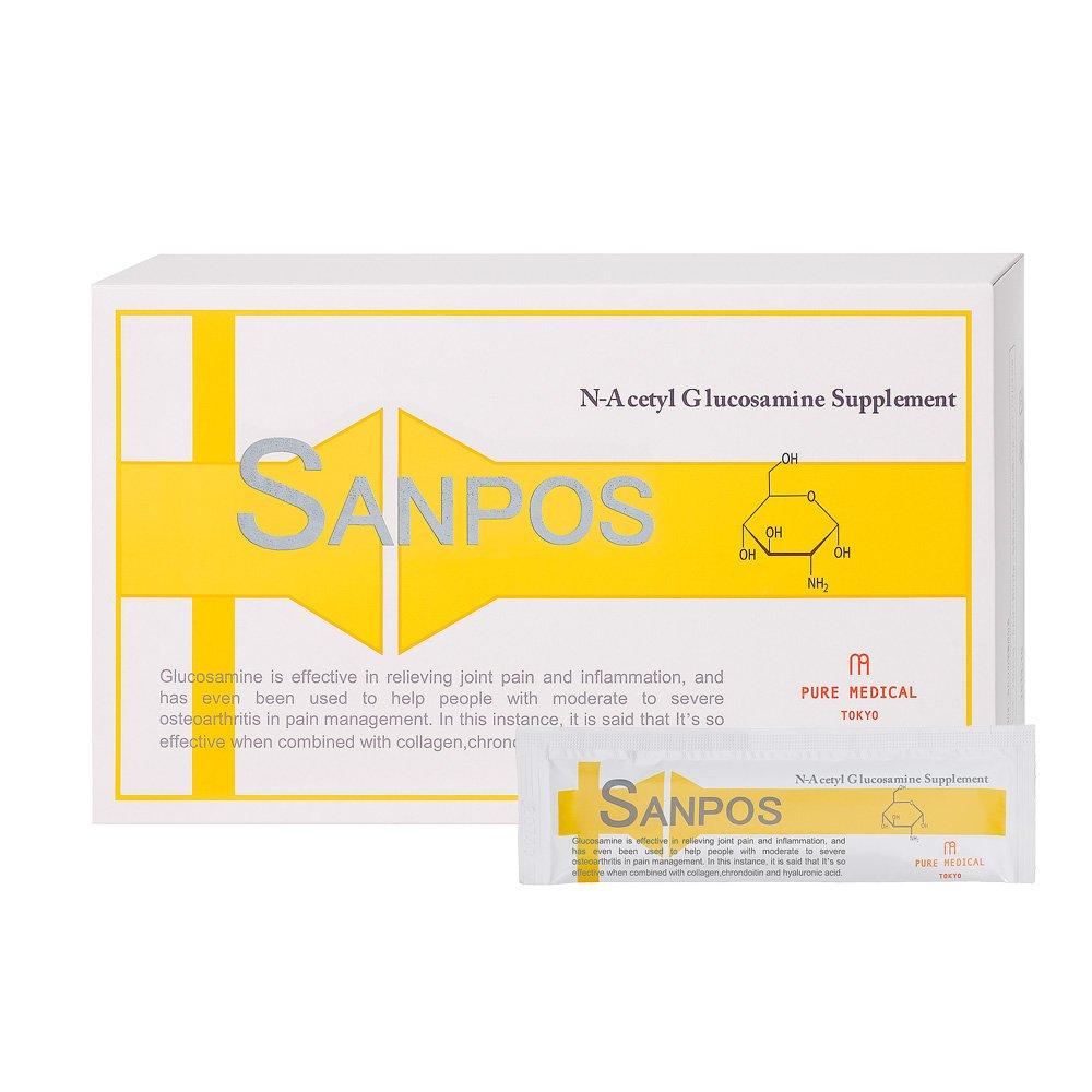 サンポス 30包 【元気サポート ゼリータイプ グルコサミン含有食品】N-アセチルグルコサミン、コンドロイチン、ヒアルロン酸、コラーゲン、カルシウム配合 B00BJFZ67M