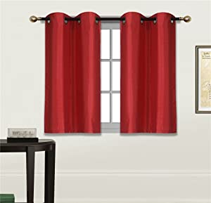 """Elegant Home 2 Panels Tiers Grommets Small Window Treatment Curtain Faux Silk Semi Sheer Drape Short Panel 28"""" W X 36"""" L Each for Kitchen Bathroom or Any Small Window # N25 (Red)"""