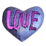 JING GREAT Mermaid Throw Pillow Insert,Two-Color Heart Shape Reversible Sequins Decorative Pillow. 13''×15'' (Blue+Purple)