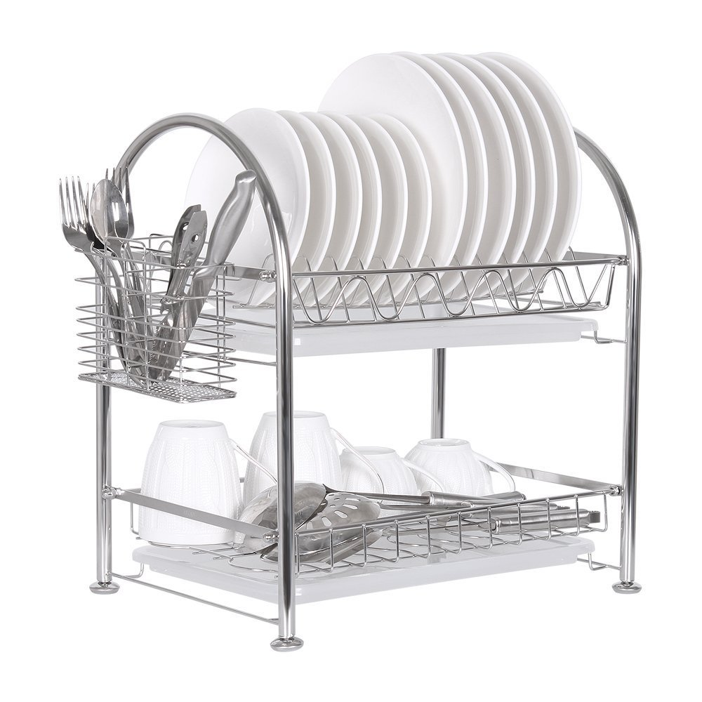 NEX Dish Rack Stainless Steel Two Tier Draining Rack Rustless Storage Rack with Chopstick Holder(D003)