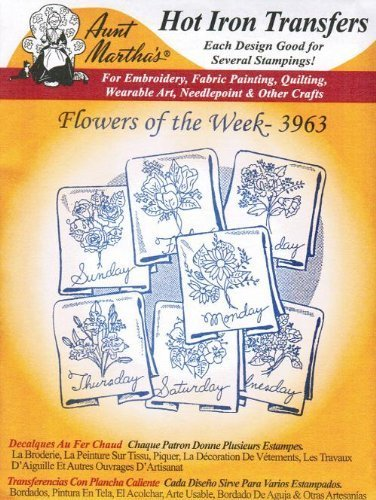 (Flowers of the Week Aunt Martha's Hot Iron Embroidery Transfer)