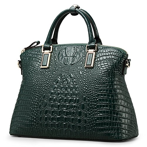 Green Top Cowhide handle Handbags Genuine Real Shoulder Handbags Women for Bags Leather Bags qxwCWYR7E