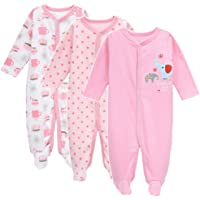 Exemaba 3-Pack Baby Footies Pajamas Girls' Long Sleeve Romper Overall Cotton Sleeper