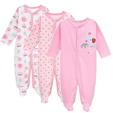 d19ae07d7 3-Pack Baby Footies Pajamas Girls  Long Sleeve Romper Overall Cotton ...