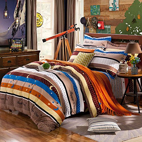 Image of BB.er Cotton Brushed Printed Bedding Four Sets of Sheets Quilt Cover Pillowcase, Star, 200 230cm Home and Kitchen