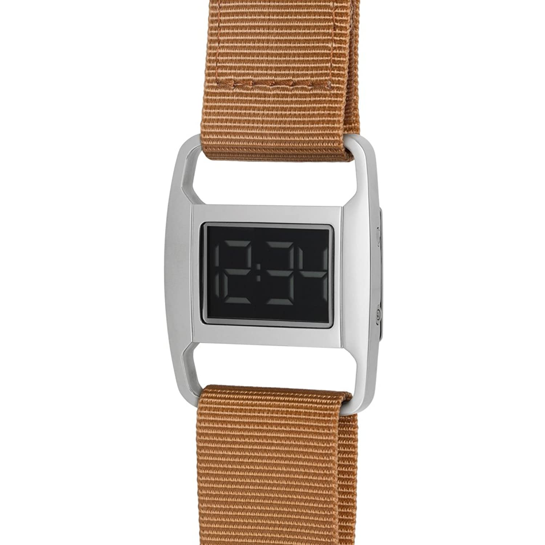 PXR-5 - Digitaluhr von Michael Young fÜr VOID - Style: Poliert Silber & Ockerfarbenes Nylon Armband