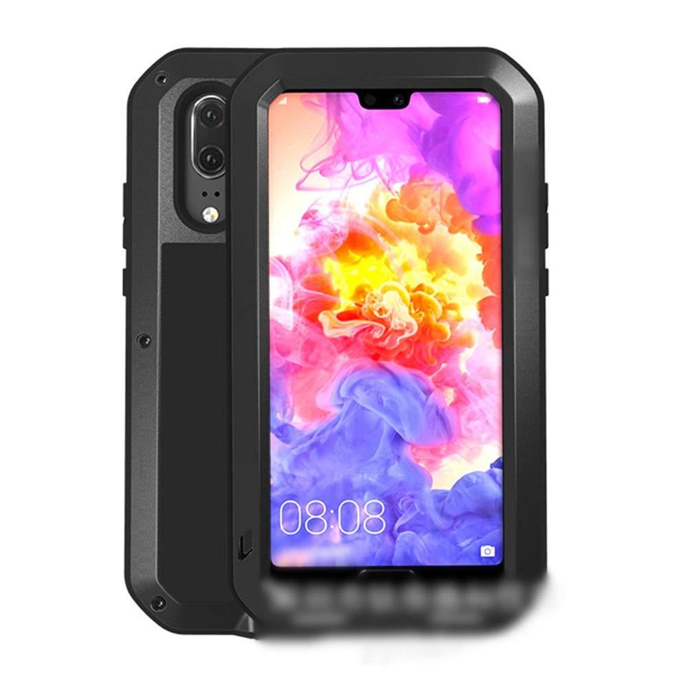 Abiliyy Huawei社P20、P20 Pro、P20 Lite、Mate10、Mate10 Pro用のファッション3アンチ携帯電話ケース新しい金属製のカバー飛散防止保護電話ケース (Color : 黒, Edition : P20 Lite)