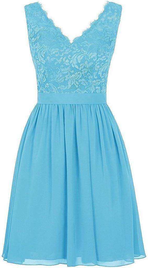 Tongshi Womens V Neck Lace Dress 11 Blush